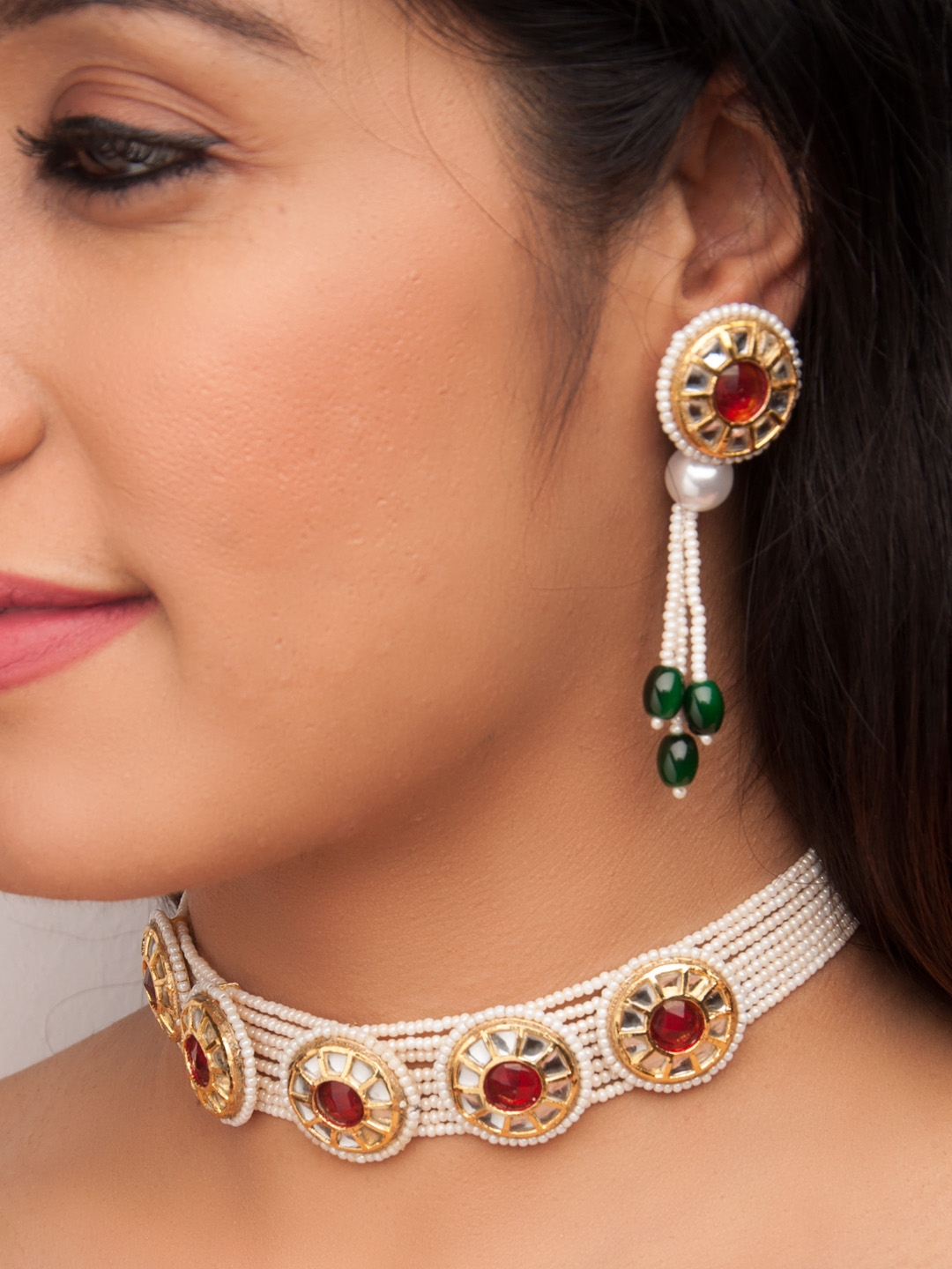 b21dc60350 Buy Rubans Women Red Handcrafted Gold Plated Jewellery Set ...