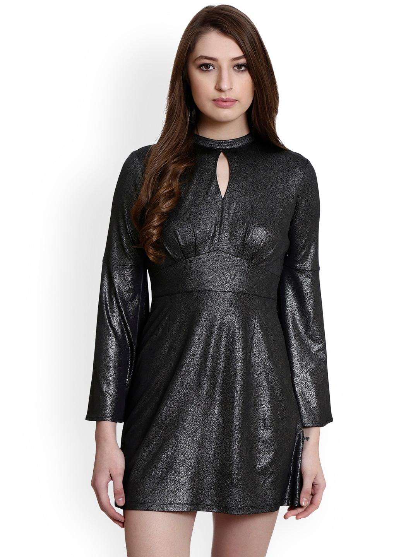 32c581ae Buy Colormode Women Black Metallic Empire Dress With Keyhole Neck ...