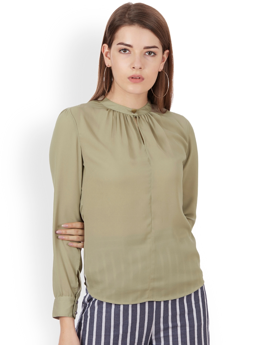 12e3feb4 Buy Colormode Women Beige Solid Top With Keyhole Neck - Tops for ...