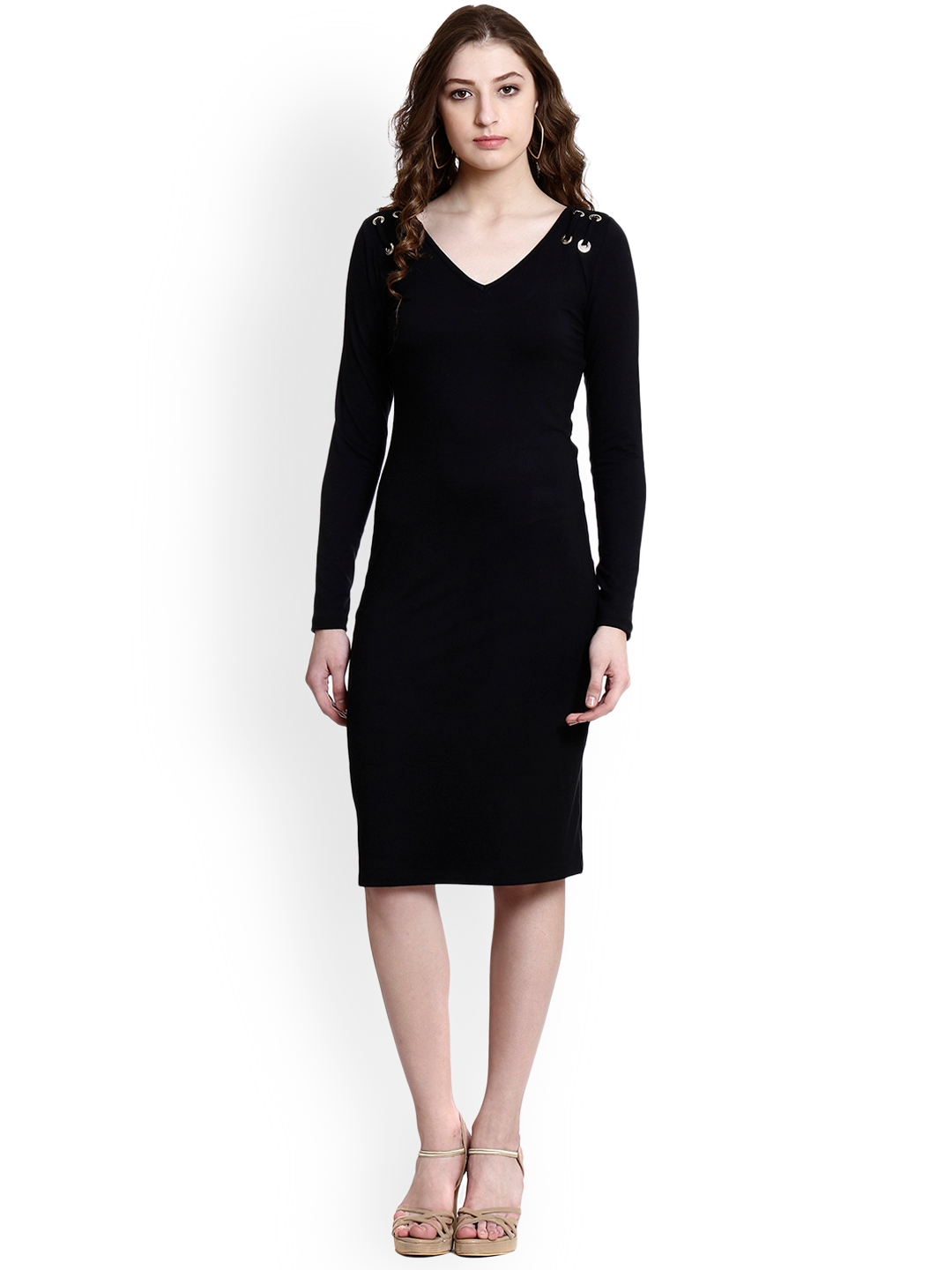 1718f549 Buy Colormode Women Black Solid Sheath Dress With Eyelets & Tie Up ...
