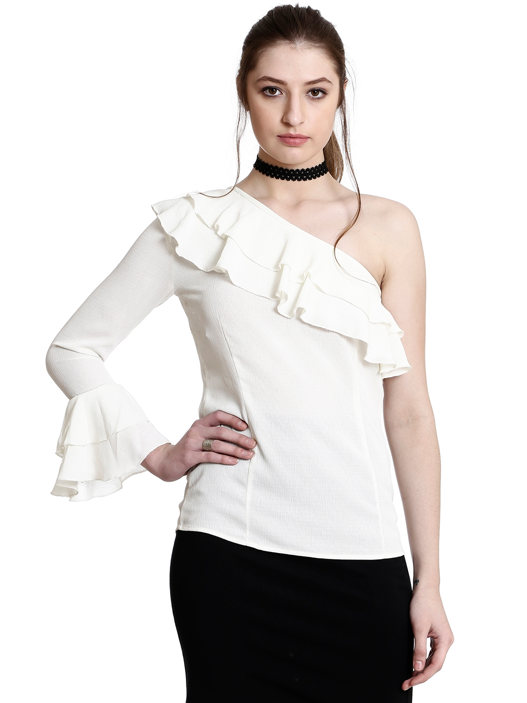 f7c53ae1d1a0c Buy Colormode Women Off White Solid One Shoulder Top With Bell ...