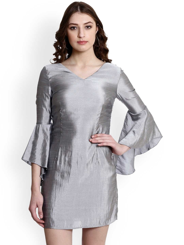 0cb148fa Buy Colormode Women Grey Sheen Sheath Dress With Flared Sleeves ...