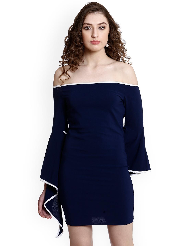 a5ec7347 Buy Colormode Women Navy Blue Solid Bodycon Dress - Dresses for ...