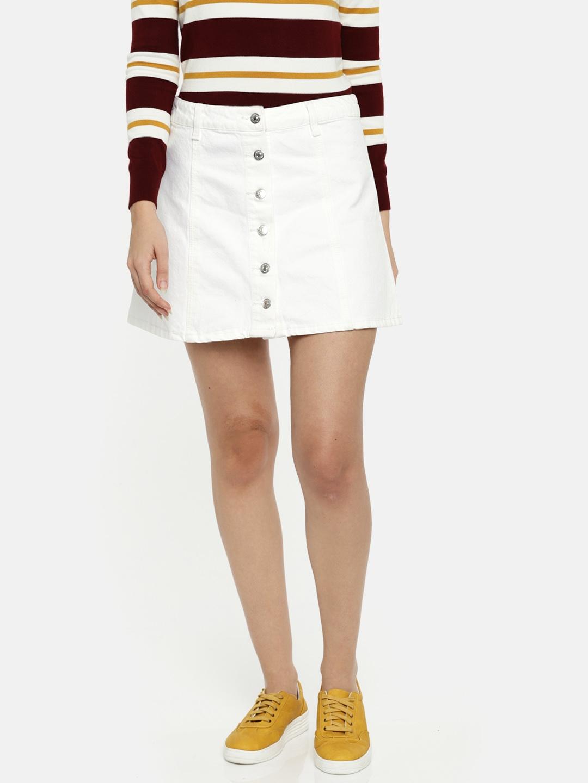 2e67c4013 White Denim Mini Skirt Forever 21