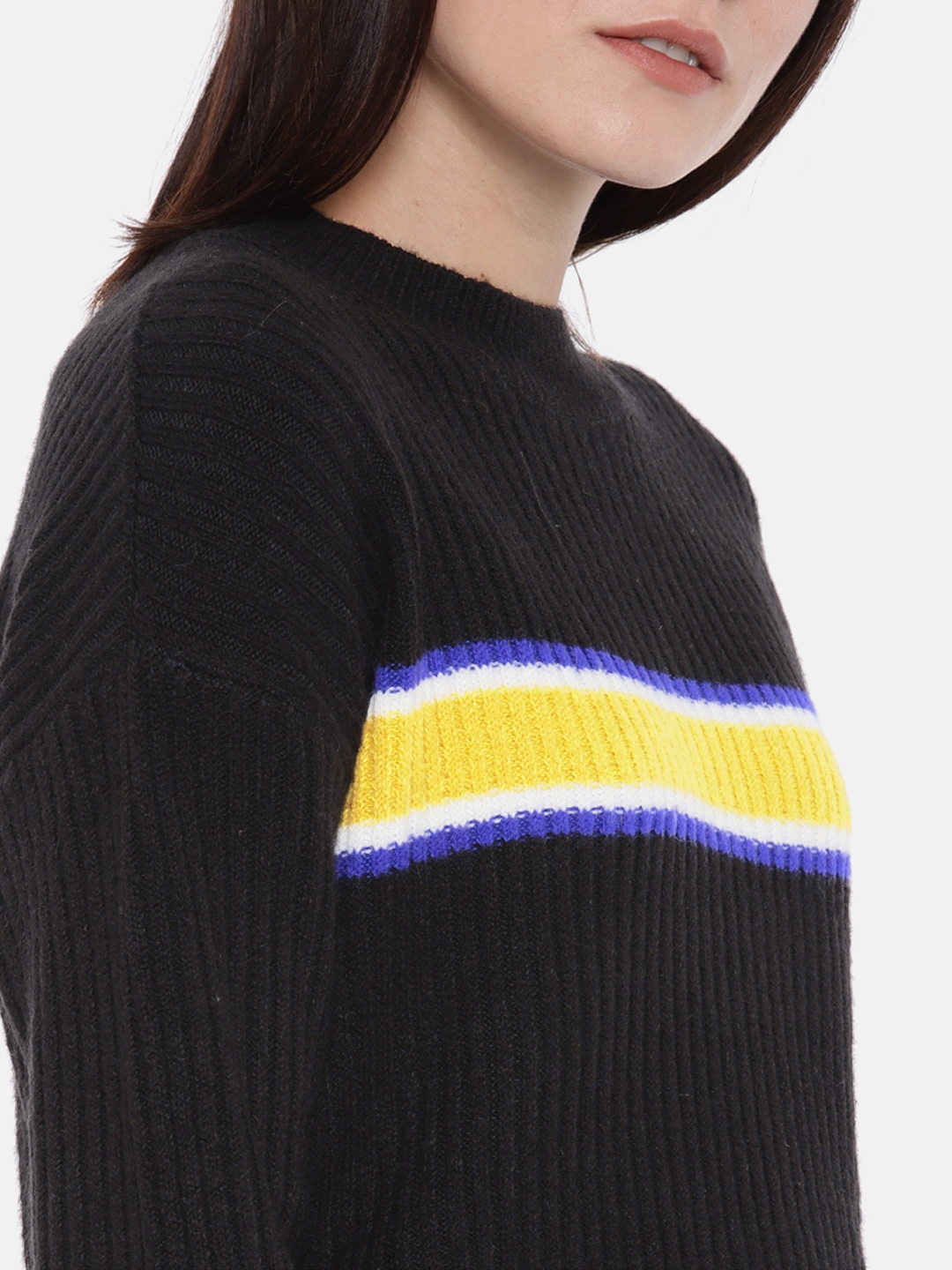 Buy Forever 21 Women Black Yellow Striped Pullover Sweaters For