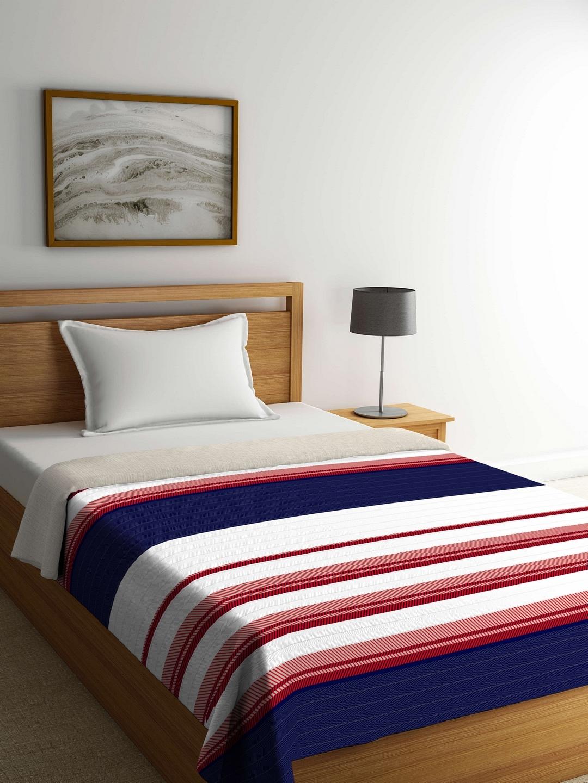 ff2af51c7e Portico New York White & Navy Blue Striped AC Room 120 GSM Single Bed  Comforter