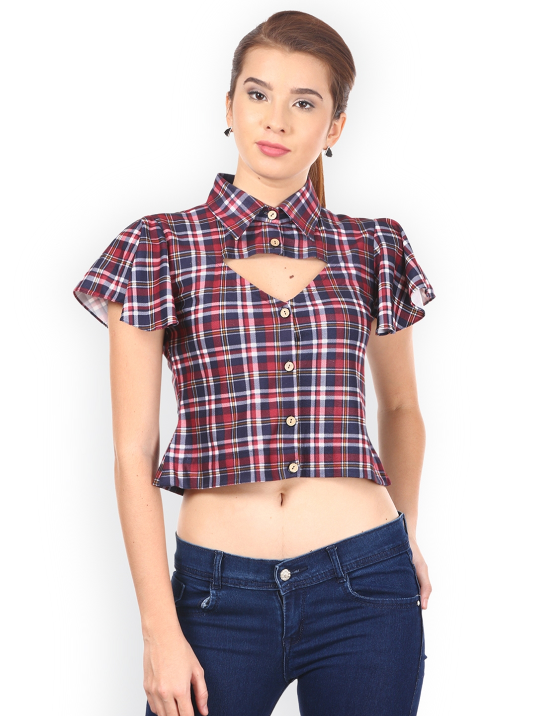 3b83ef84c6858a Buy Saadgi Women Maroon   Navy Checked Shirt Style Crop Top - Tops ...