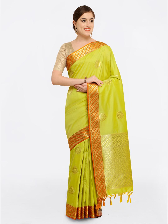 3a79c4e719b809 Varkala Silk Sarees Lime Green   Orange Silk Blend Woven Design Kanjeevaram  Saree