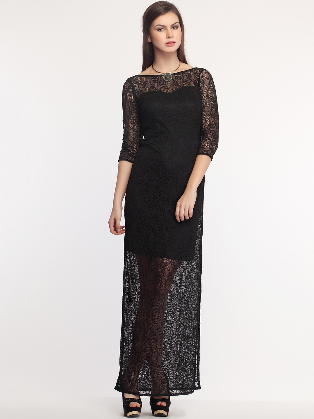 be67325d842 Buy Colormode Women Black Self Design Lace Maxi Dress With Deep Back ...