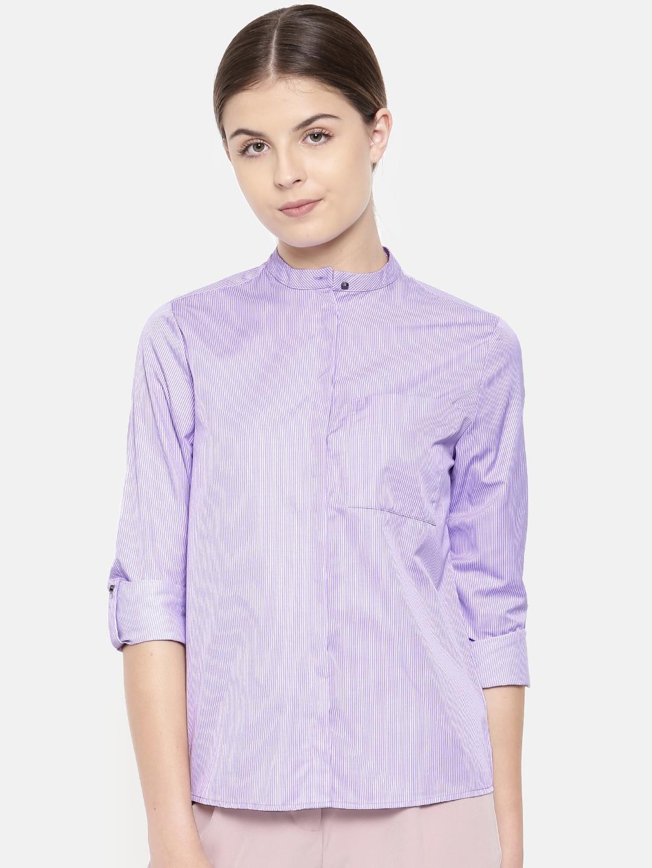 Van Heusen Woman Women Purple Regular Fit Striped Formal Shirt