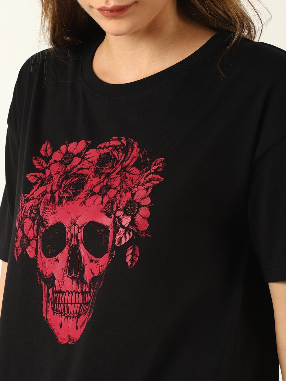 6b5115e6 Buy Blue Saint Women Black Printed Round Neck T Shirt - Tshirts for ...