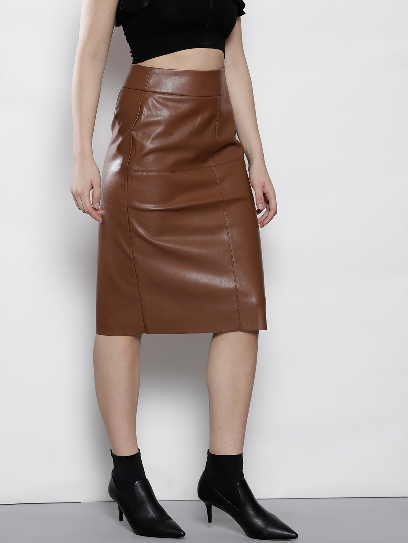 04cf941ea6 Buy DOROTHY PERKINS Women Brown Faux Leather Midi Pencil Skirt ...