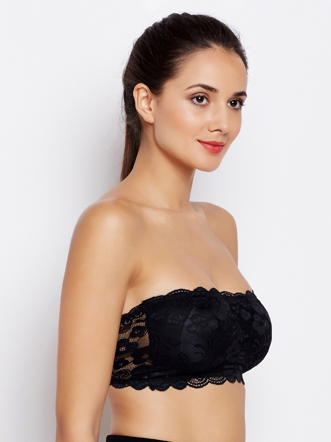 e4659ba763246 Golden Girl Black Lace Non-Wired Lightly Padded Bandeau Bra 1209201878