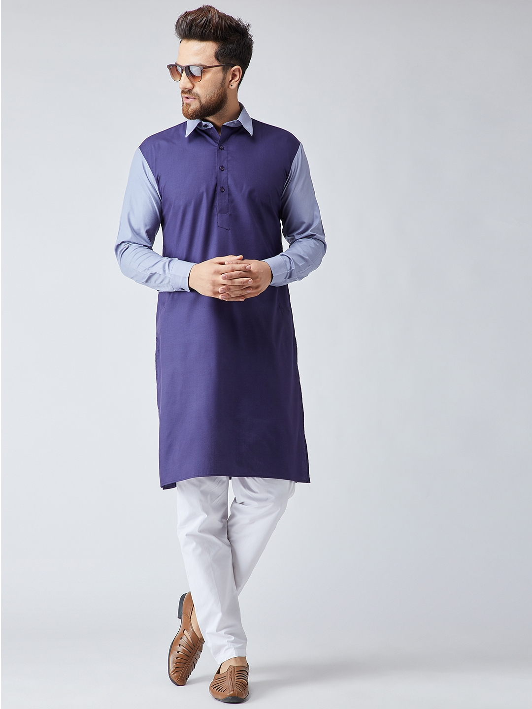 Royal Mens Deep Blue Neck Embroidered Tericott Pathani Suit