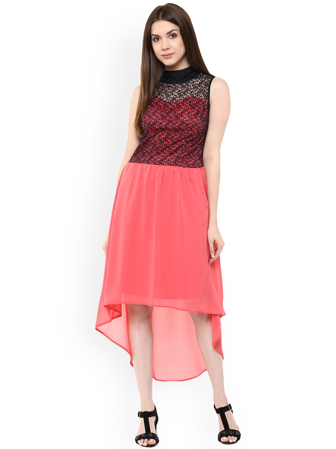 Buy Mayra Women Peach Coloured Self Design Fit And Flare Dress ... 9b7191fca