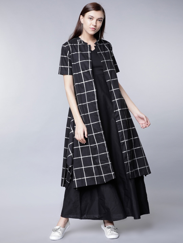 Buy Vishudh Women Black Checked Layered Maxi Dress With Checked ... f8ea62788