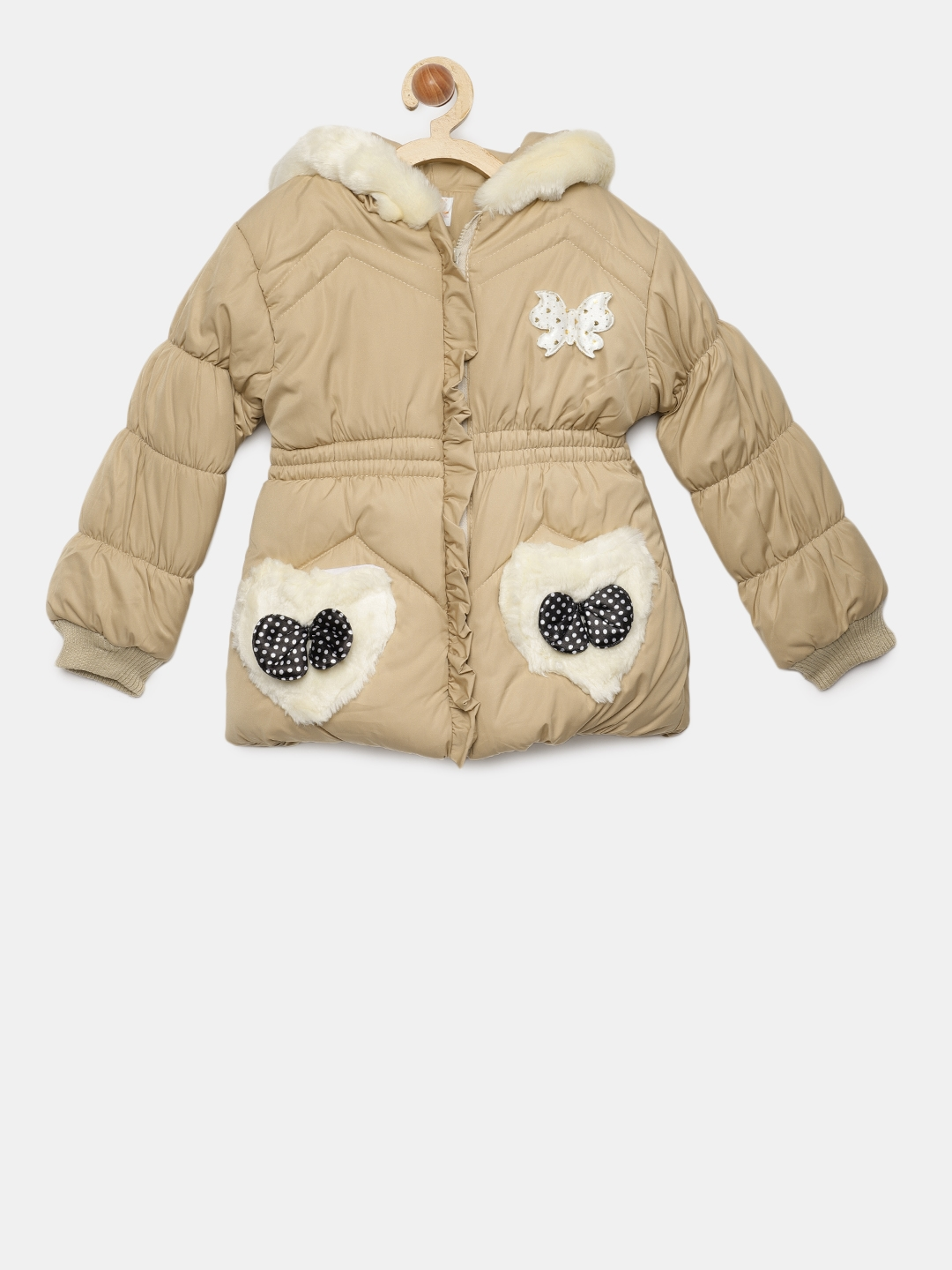 8af000affaf4 Buy LOL Land Of Littles Girls Beige Puffer Jacket With Faux Fur ...