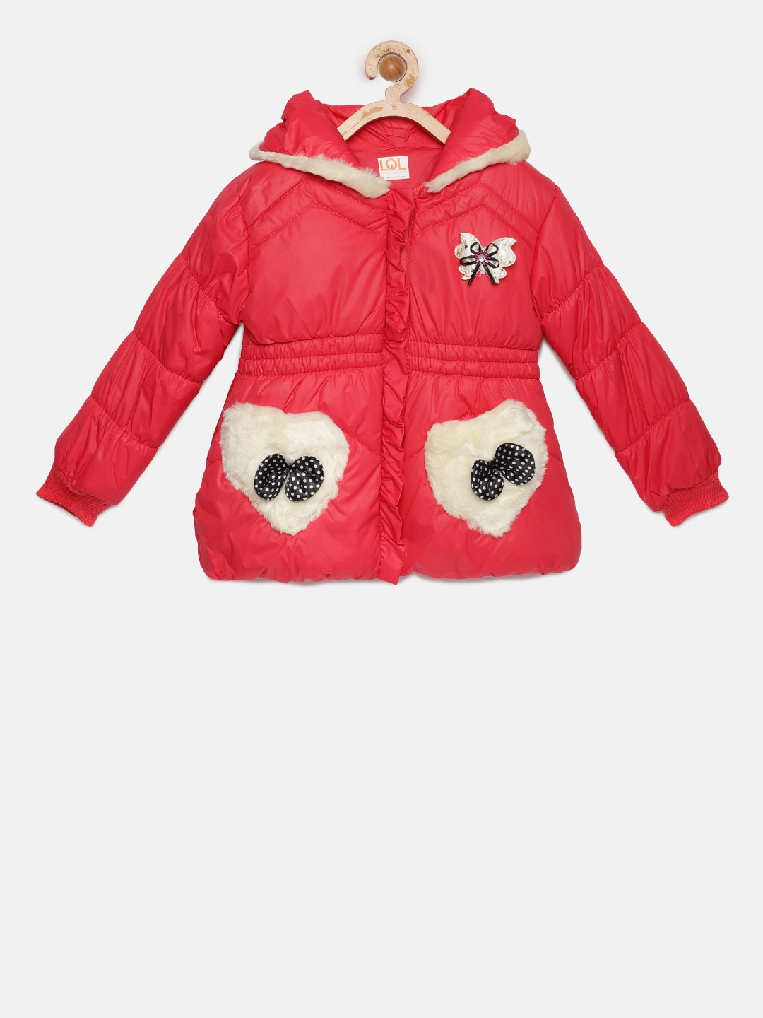 82225f0b6a1e Buy LOL Land Of Littles Girls Red Puffer Jacket With Faux Fur ...