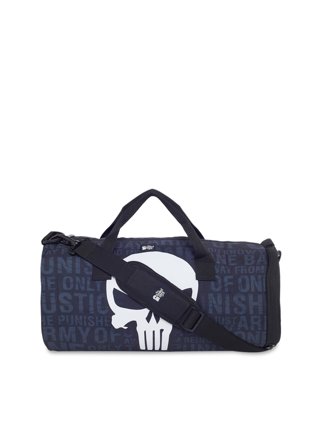 0a87499365e8 Buy The Souled Store Unisex Blue   White Punisher Skull Duffel Bag ...