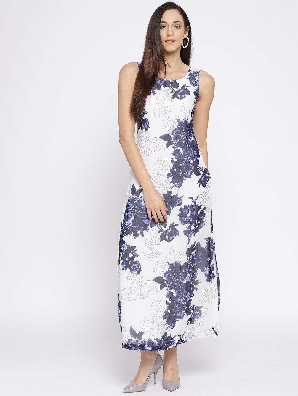 c39b3906dbe Buy Belle Fille Cream Coloured   Blue Polyester Georgette Maxi Dress -  Dresses for Women 744333