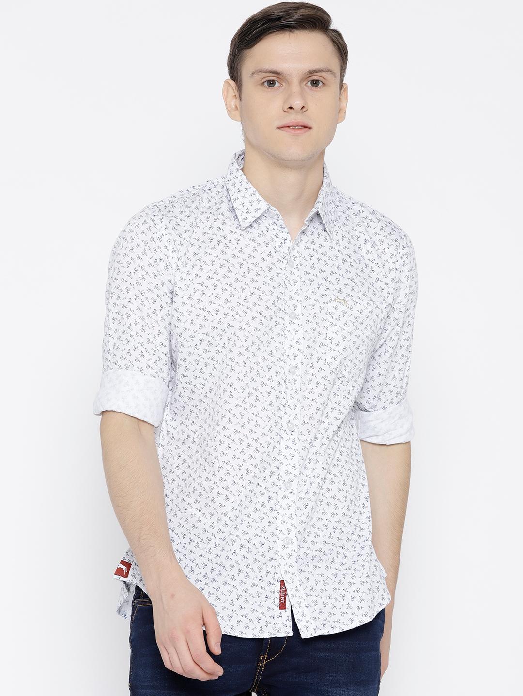 611aaab8a6 JUMP USA Men White   Navy Blue Slim Fit Printed Casual Shirt