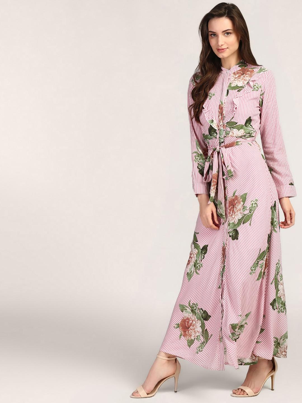 23b40ebc353f2 Buy StalkBuyLove Women Pink Printed Maxi Dress - Dresses for Women ...