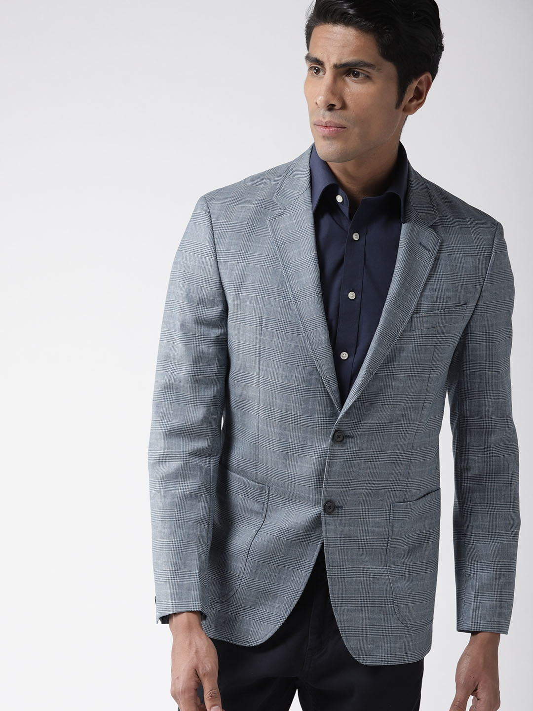 d3b1d13ee0 Tommy Hilfiger Men Blue Tailored Fit Woollen Checked Single-Breasted Smart  Casual Blazer