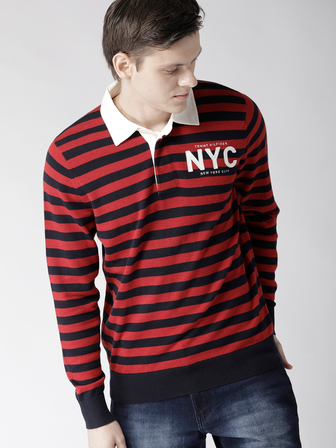 e780942c Buy Tommy Hilfiger Men Navy Blue & Red Striped Pullover - Sweaters ...