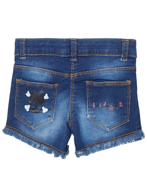 b5934142bb Buy TALES   STORIES Girls Blue Printed Regular Fit Denim Shorts ...