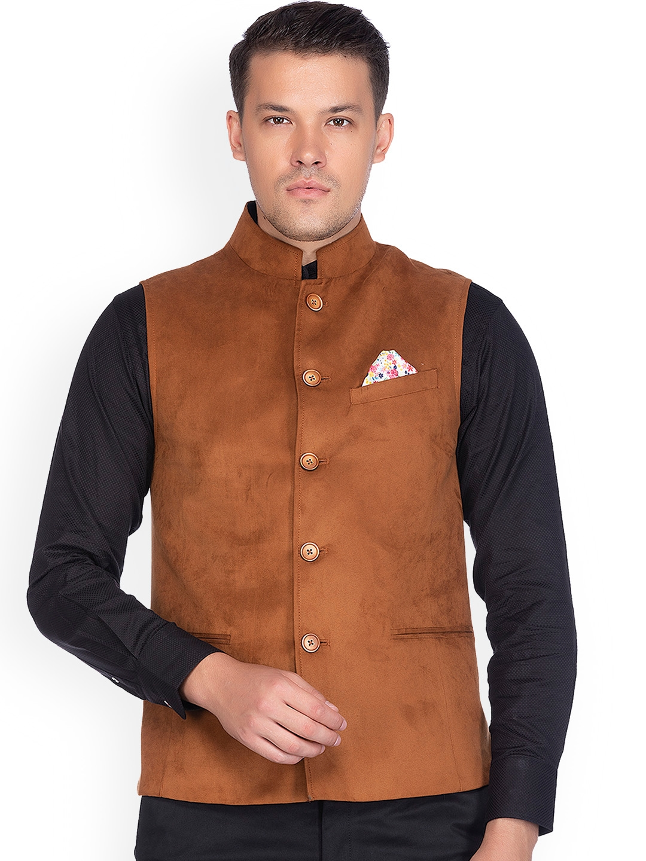 Buy Givo Men Brown Solid Comfort Fit Suede Nehru Jacket Nehru