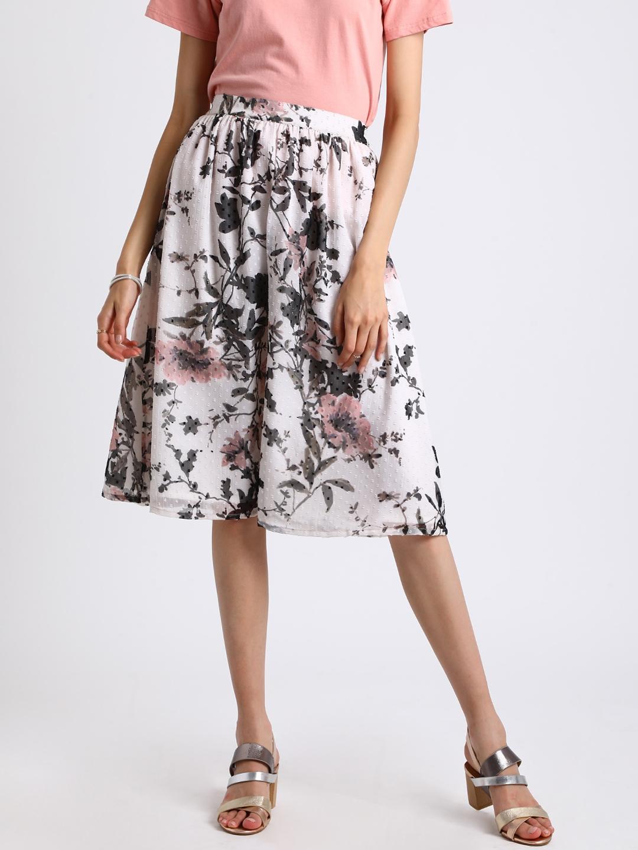 Besiva Women White   Grey Floral Print A Line Skirt