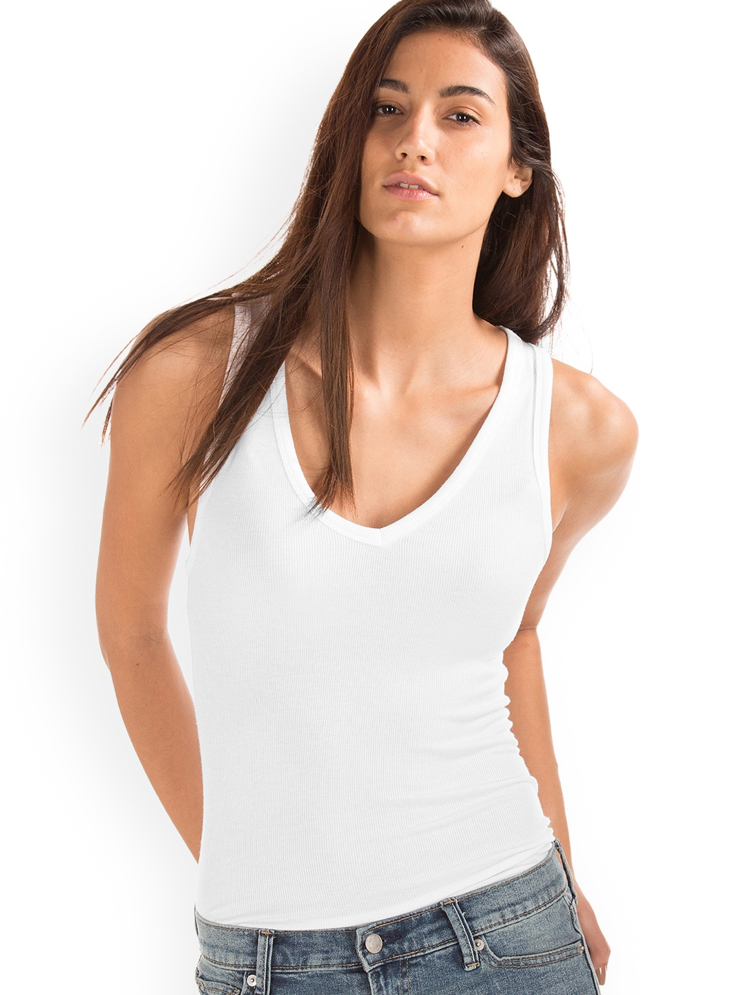 d444087043 Buy GAP Women White Ribbed V Neck Tank Top - Tops for Women 7465511 ...