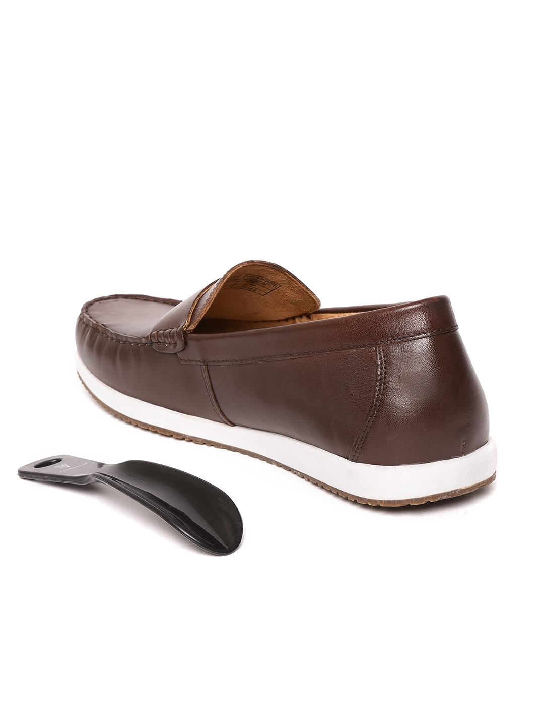 a5fb86b6caec19 Buy Van Heusen Men Brown Leather Loafers - Casual Shoes for Men ...