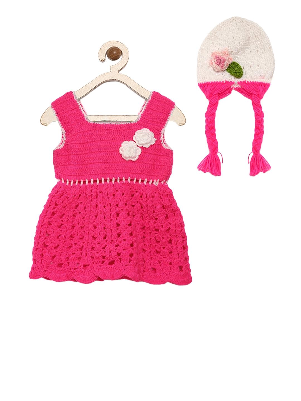 590a20a3fd93 Buy CHUTPUT Girls Pink Self Design Sweater Dress - Dresses for Girls ...