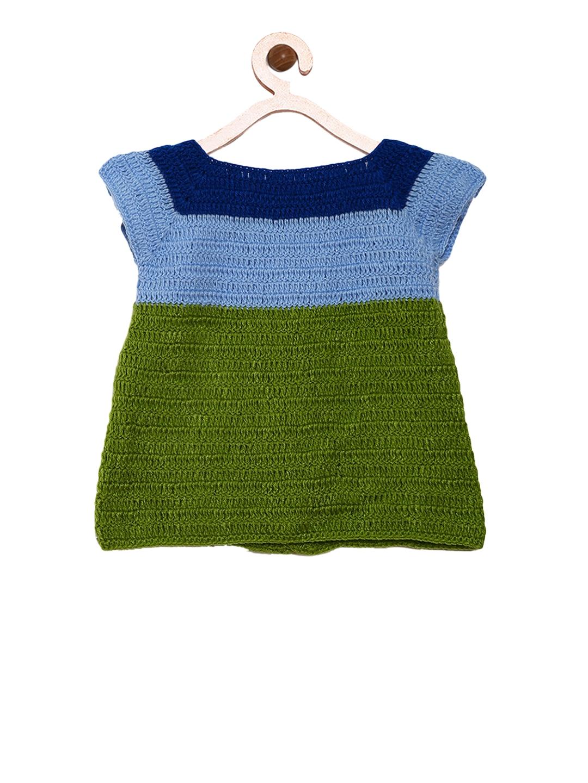 315009ddf8d1 Buy CHUTPUT Girls Green Self Design Sweater Dress - Dresses for ...