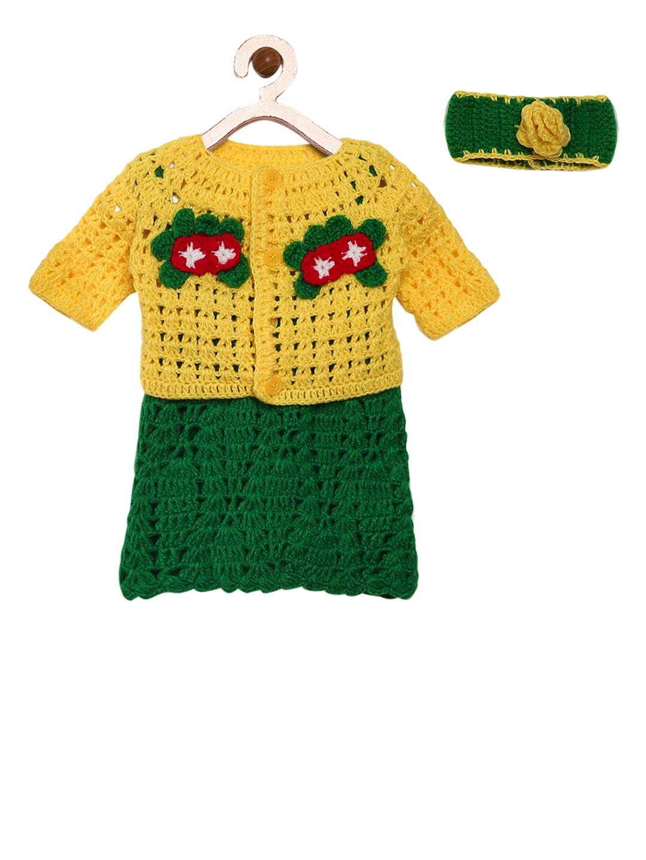 4688cfa1a95e Buy CHUTPUT Girls Yellow Self Design Sweater Dress - Dresses for ...