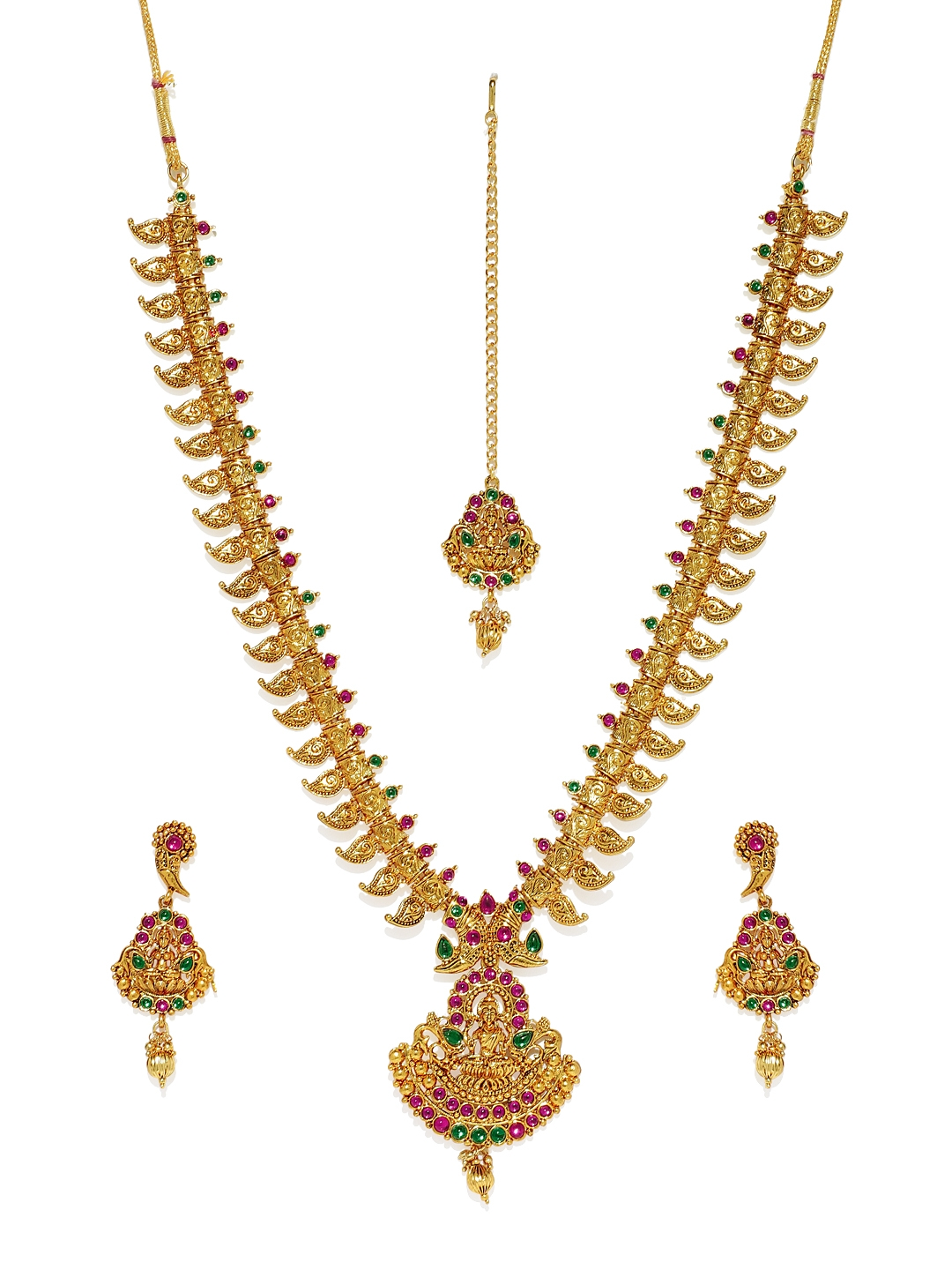 5cc066be5 Buy Zaveri Pearls Women Gold Plated And Pink Temple Design Jewellery ...