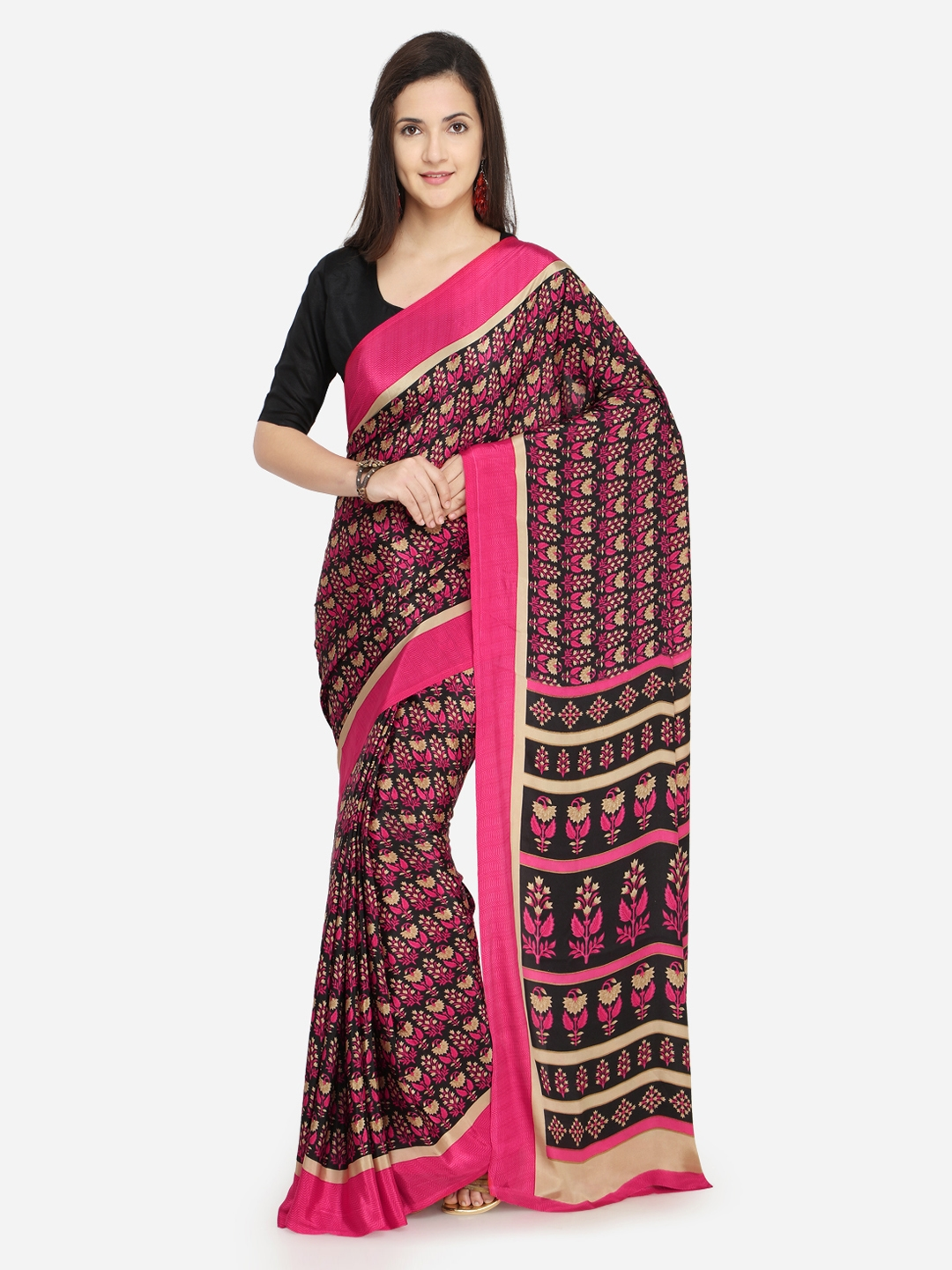 Kvsfab Black   Pink Pure Crepe Printed Saree