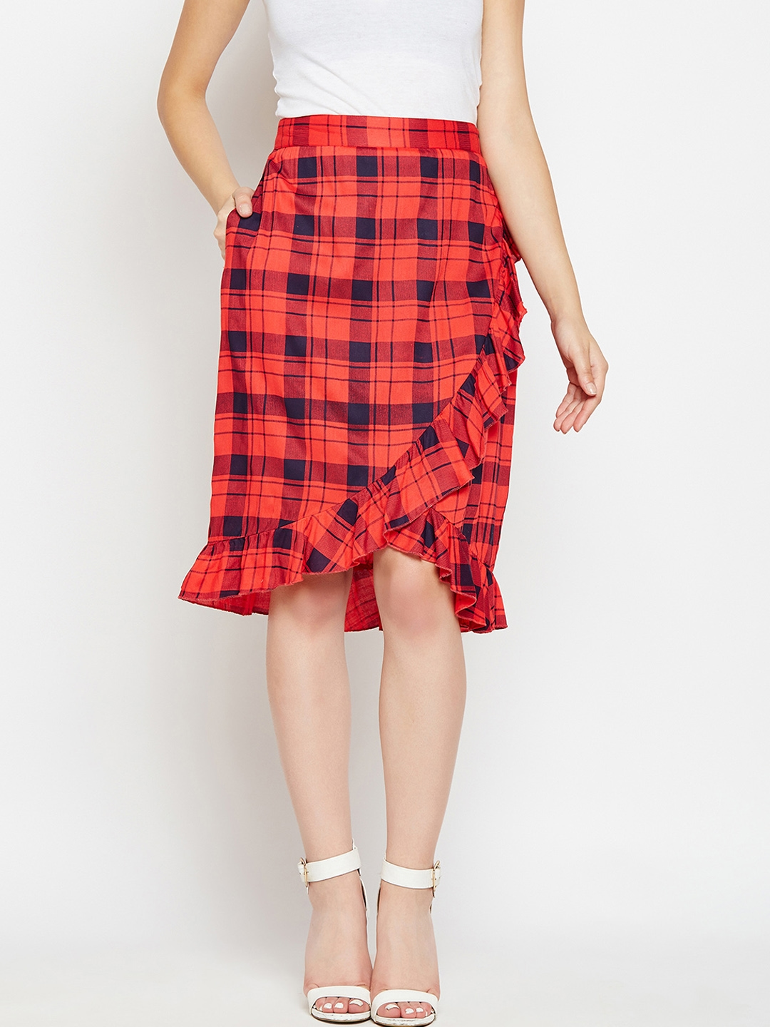 6404bec1f1 Buy Mee Women Red Checked Wrap Skirt - Skirts for Women 7470413 | Myntra
