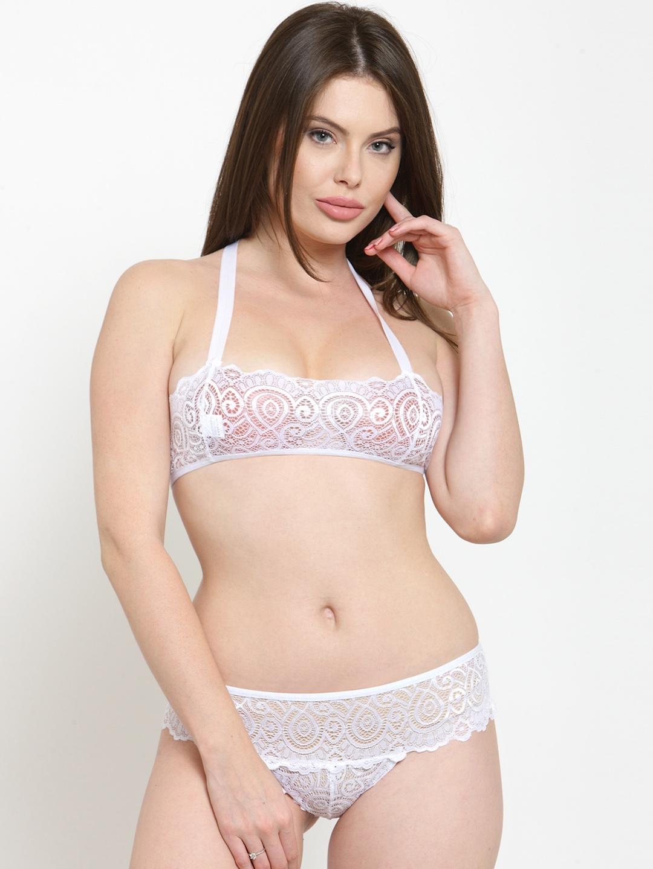 51683d069fa Buy N Gal White Sheer Lace Lingerie Set NAYLS12 - Lingerie Set for ...