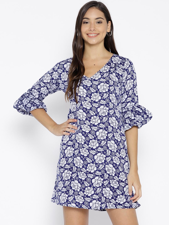 U F Women White   Navy Blue Printed A Line Dress