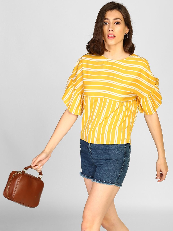 4990d0da9 Buy StalkBuyLove Women Yellow Striped Top - Tops for Women 7470927 ...