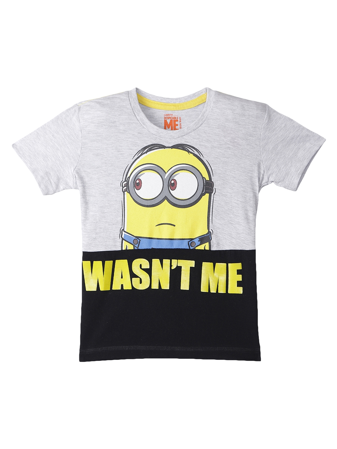 57de2f82e Buy Kids Ville Boys Grey & Black Minions Printed Round Neck T Shirt ...