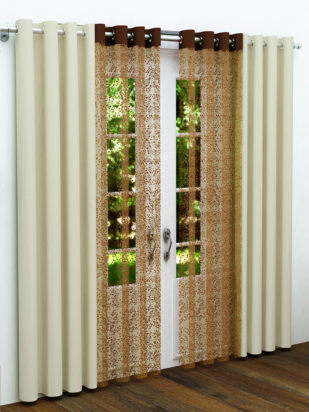 Story@home Off White U0026 Brown Set Of 4 Door Curtains