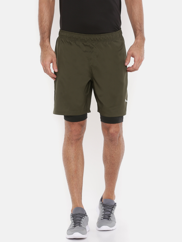 Puma Men Olive Green Run 2in1 7' short Running Shorts