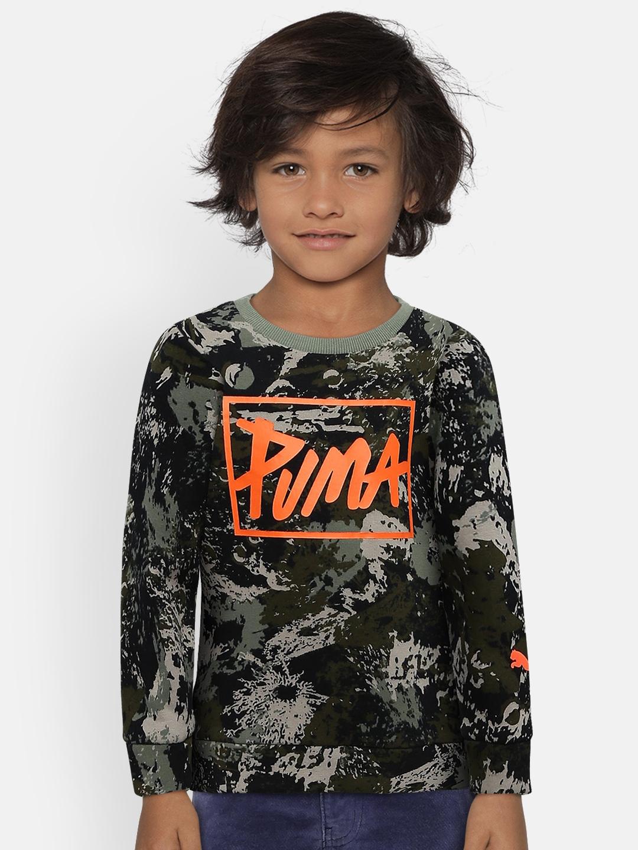 Puma Boys Grey Printed Sweatshirt