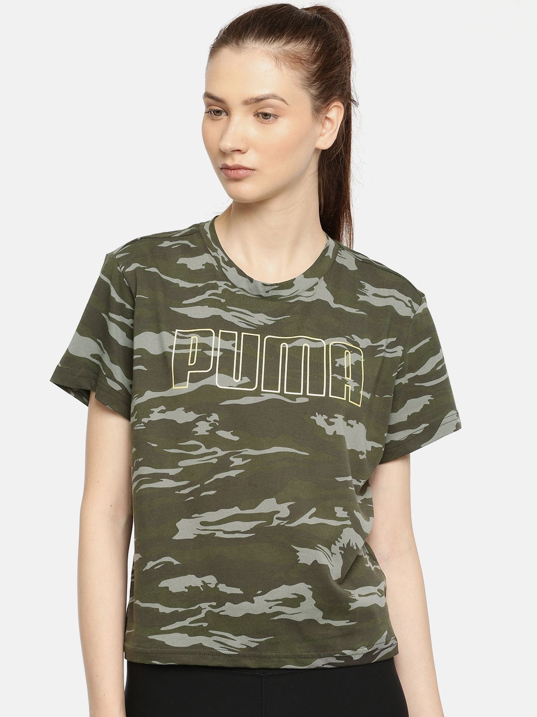 32f2be00a Buy Puma Women Olive Green Printed Camo AOP Tee Forest Night AOP T ...