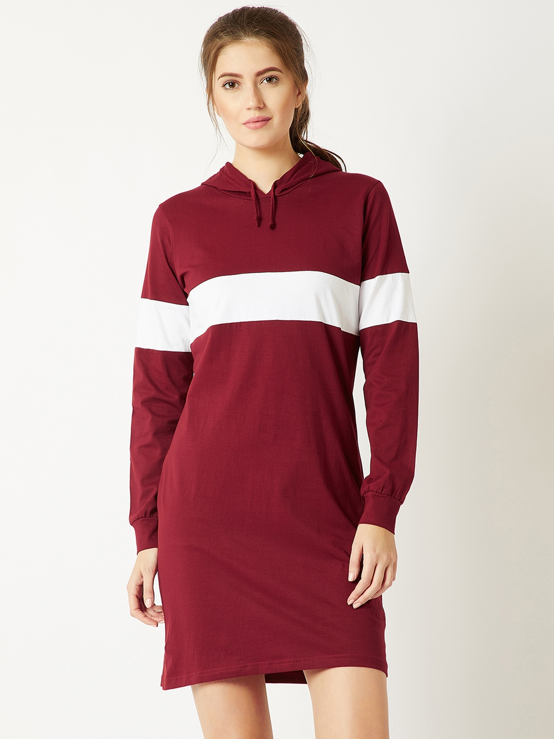 cfec5d908040 Buy Miss Chase Women Maroon Striped T Shirt Dress - Dresses for ...