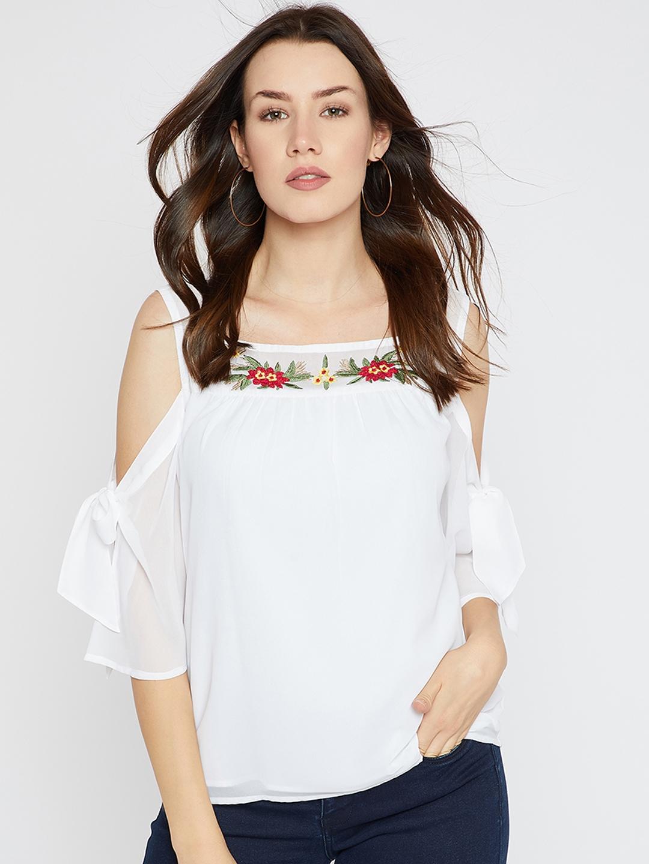 RARE Women White Solid Top