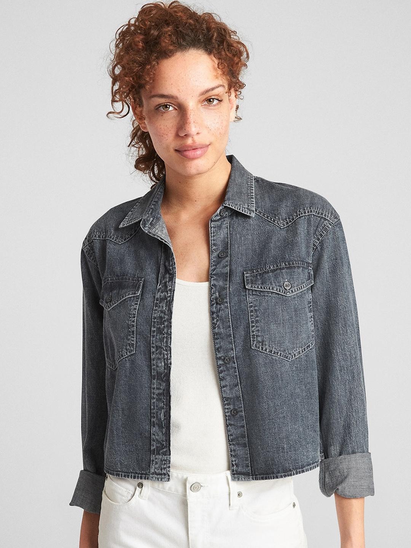 f6261119fd Buy GAP Women Denim Western Shirt - Shirts for Women 7480497